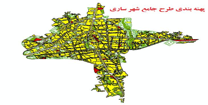 دانلود شیپ فایل پهنه بندی طرح جامع شهر ساری سال 1394