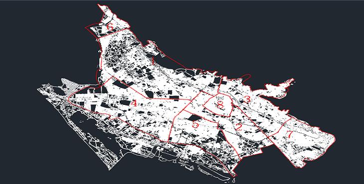 دانلود نقشه اتوکد منطقه بندی و پارسل شهر شیراز