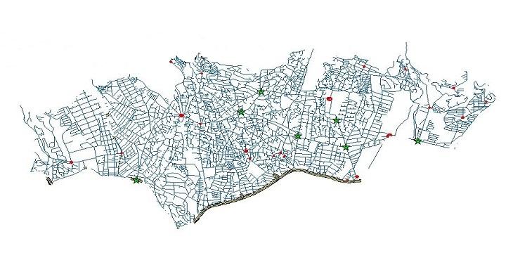 دانلود شیپ فایل کامل معابر، میادین، تقاطع ها و پل های منطقه یک شهر تهران