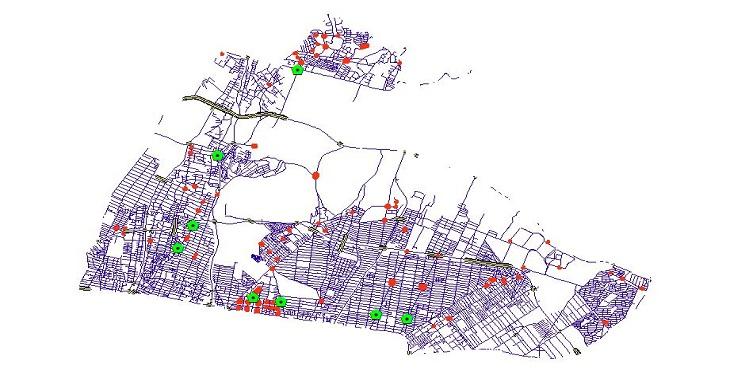 دانلود شیپ فایل کامل معابر، میادین، تقاطع ها و پل های منطقه چهار شهر تهران