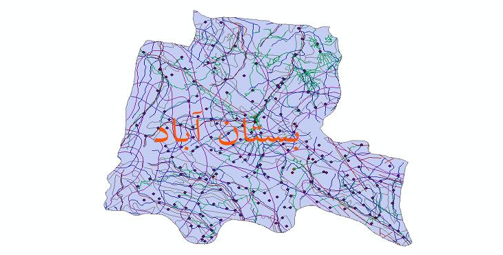 دانلود لایه جی ای اس و شیپ فایل های شهرستان بستان آباد