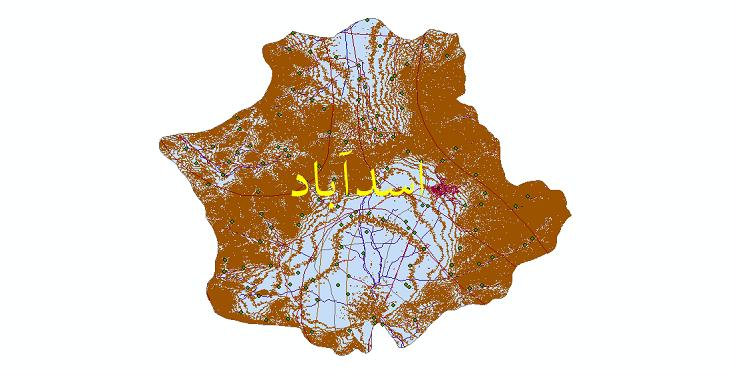 دانلود لایه جی ای اس و شیپ فایل های شهرستان اسدآباد