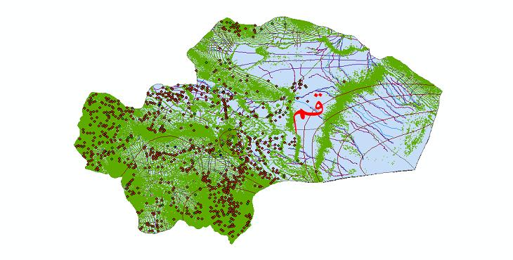دانلود لایه جی ای اس و شیپ فایل های استان قم