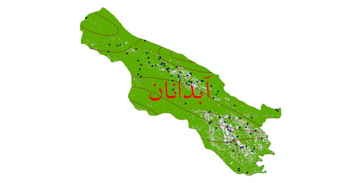 دانلود لایه جی ای اس و شیپ فایل های شهرستان آبدانان
