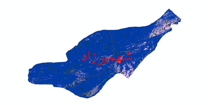 دانلود لایه جی ای اس و شیپ فایل های شهرستان شهمیرزاد