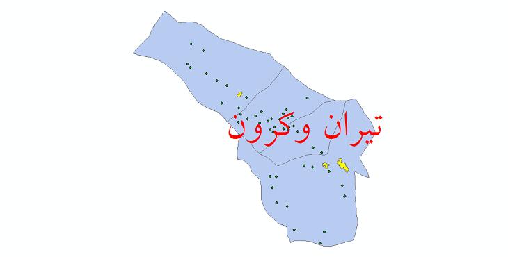 دانلود نقشه جی ای اس تقسیمات سیاسی شهرستان تیران و کرون سال 1398