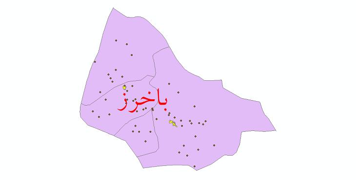 دانلود نقشه جی آی اس تقسیمات سیاسی شهرستان باخرز سال باخرز سال 1398