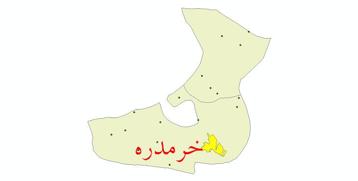 دانلود نقشه جی آی اس تقسیمات سیاسی شهرستان خرمدره سال 1398