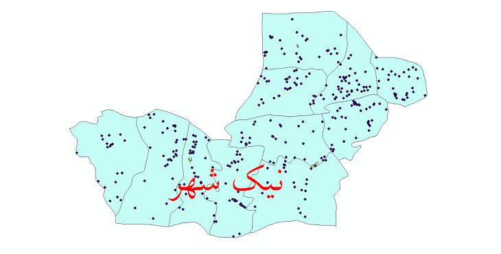 دانلود نقشه جی آی اس تقسیمات سیاسی شهرستان نیک شهر سال 1398