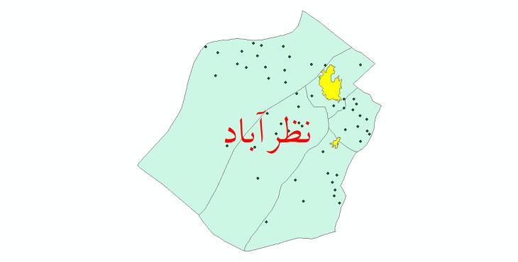 دانلود نقشه جی آی اس تقسیمات سیاسی شهرستان نظرآباد سال 1398