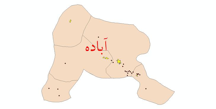دانلود نقشه جی ای اس تقسیمات سیاسی شهرستان آباده سال 1398