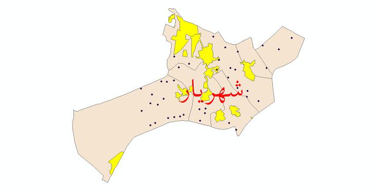 دانلود نقشه جی آی اس تقسیمات سیاسی شهرستان شهریار سال 1398