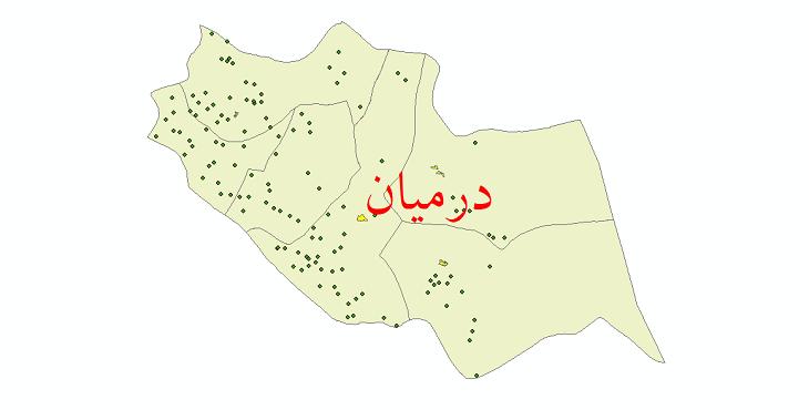 دانلود نقشه جی ای اس تقسیمات سیاسی شهرستان درمیان سال 1398