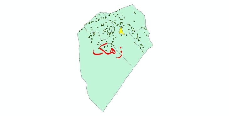 دانلود نقشه جی آی اس تقسیمات سیاسی شهرستان زهک سال 1398