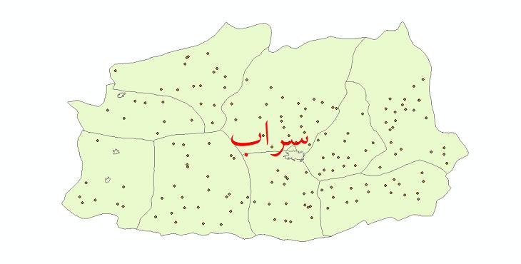 دانلود نقشه جی آی اس تقسیمات سیاسی شهرستان سراب سال 1398