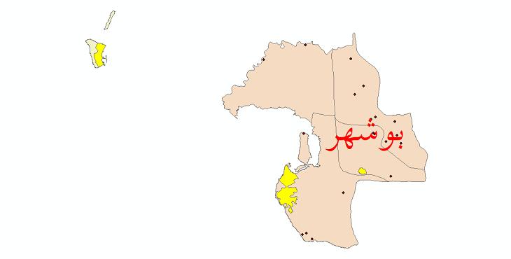 دانلود نقشه جی آی اس تقسیمات سیاسی شهرستان بوشهر سال 1398