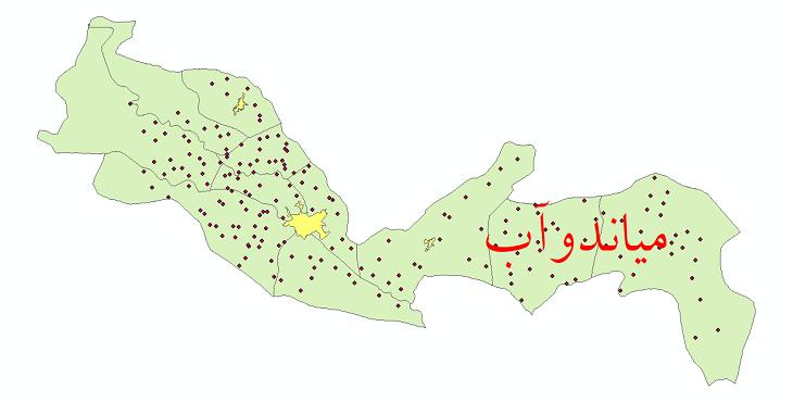 دانلود نقشه جی آی اس تقسیمات سیاسی شهرستان میاندوآب سال 1398