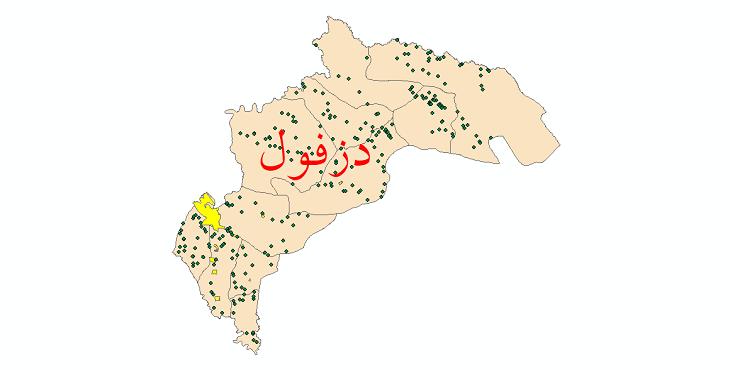 دانلود نقشه جی ای اس تقسیمات سیاسی شهرستان دزفول سال 1398