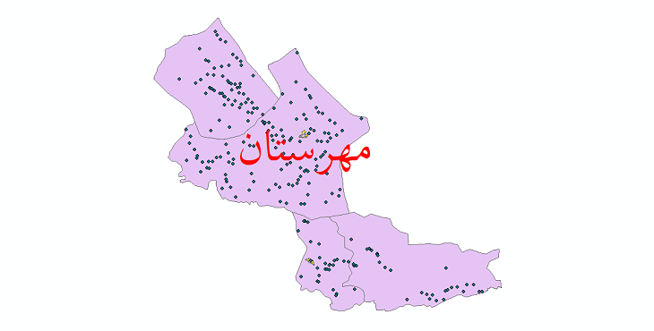 دانلود نقشه جی آی اس تقسیمات سیاسی شهرستان مهرستان سال 1398