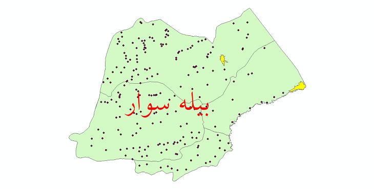 دانلود نقشه جی آی اس تقسیمات سیاسی شهرستان بیله سوار سال 1398