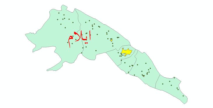 دانلود نقشه جی آی اس تقسیمات سیاسی شهرستان ایلام سال 1398