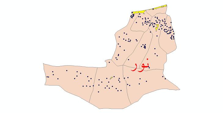 دانلود نقشه جی ای اس تقسیمات سیاسی شهرستان نور سال 1398