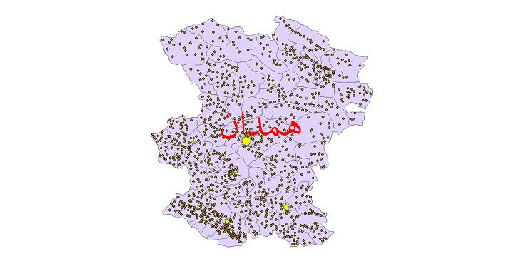 دانلود نقشه جی ای اس تقسیمات سیاسی استان همدان سال 1398