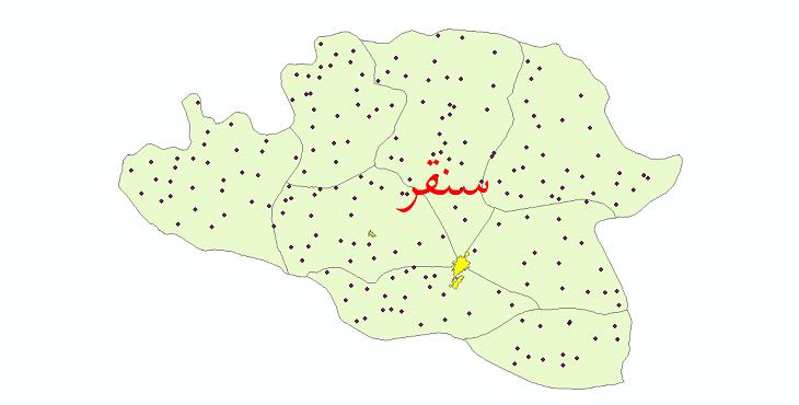 دانلود نقشه جی ای اس تقسیمات سیاسی شهرستان سنقر سال 1398