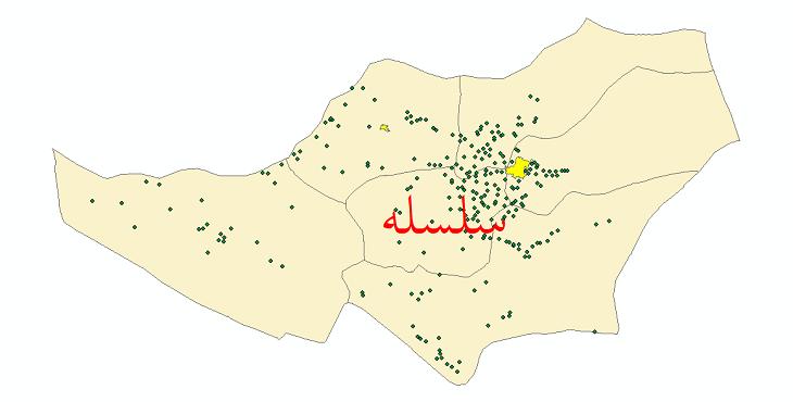 دانلود نقشه جی ای اس تقسیمات سیاسی شهرستان سلسله سال 1398