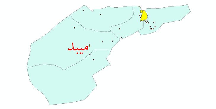 دانلود نقشه جی ای اس تقسیمات سیاسی شهرستان میبد سال 1398