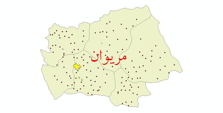 دانلود نقشه جی ای اس تقسیمات سیاسی شهرستان مریوان سال 1398