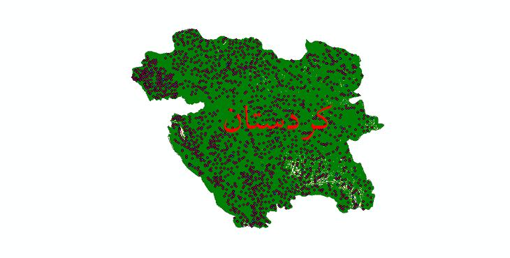 دانلود لایه جی ای اس و شیپ فایل های استان کردستان
