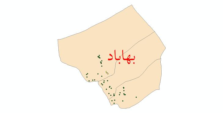 دانلود نقشه جی ای اس تقسیمات سیاسی شهرستان بهاباد سال 1398