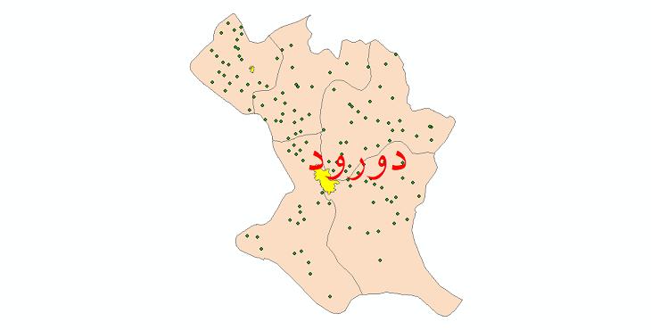 دانلود نقشه جی ای اس تقسیمات سیاسی شهرستان دورود سال 1398