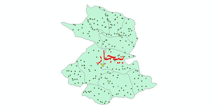 دانلود نقشه جی ای اس تقسیمات سیاسی شهرستان بیجار سال 1398