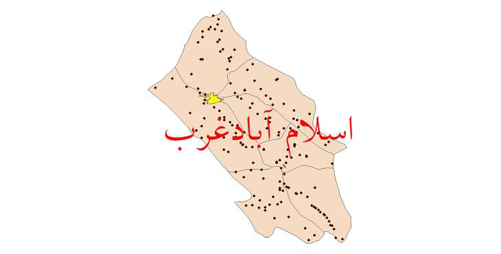 دانلود نقشه جی ای اس تقسیمات سیاسی شهرستان اسلام آباد غرب سال 1398