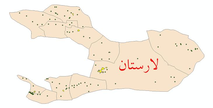 دانلود نقشه جی ای اس تقسیمات سیاسی شهرستان لارستان سال 1398