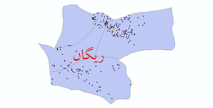 دانلود نقشه جی ای اس تقسیمات سیاسی شهرستان ریگان سال 1398