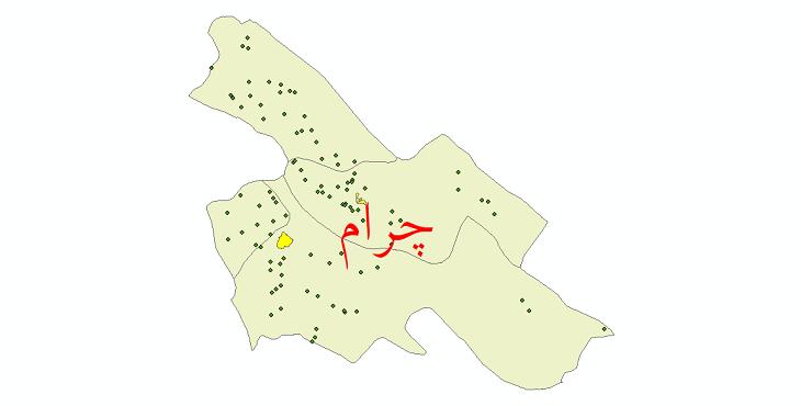 دانلود نقشه جی ای اس تقسیمات سیاسی شهرستان چرام سال 1398