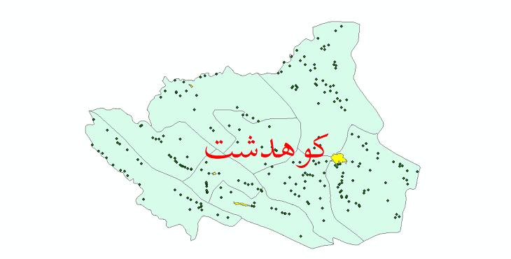 دانلود نقشه جی ای اس تقسیمات سیاسی شهرستان کوهدشت سال 1398