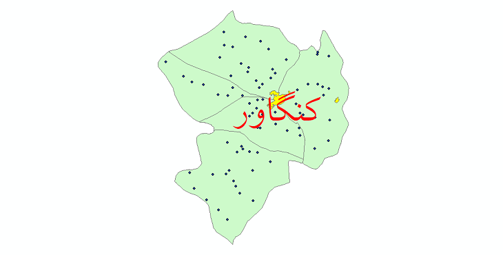 دانلود نقشه جی ای اس تقسیمات سیاسی شهرستان کنگاور سال 1398