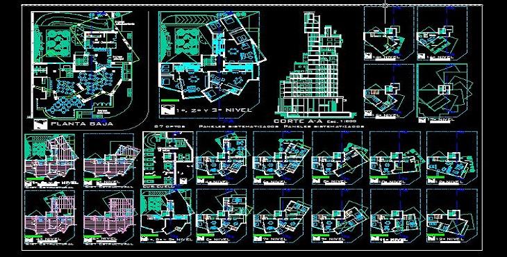 نقشه اتوکد برج مسکونی تجاری