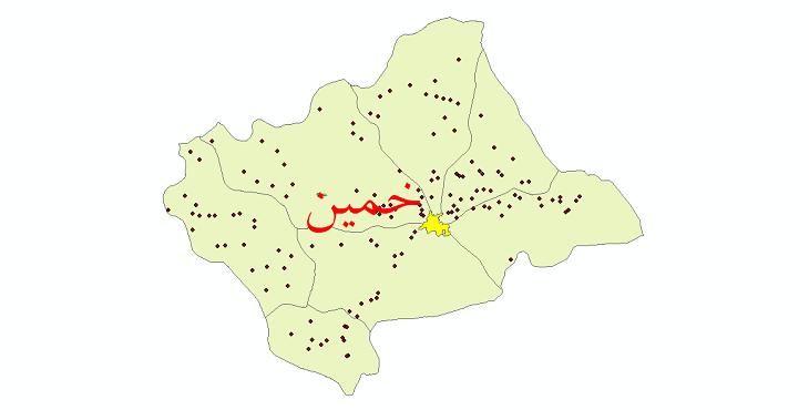 دانلود نقشه جی ای اس تقسیمات سیاسی شهرستان خمین سال 1398