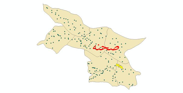 دانلود نقشه جی ای اس تقسیمات سیاسی شهرستان صحنه سال 1398