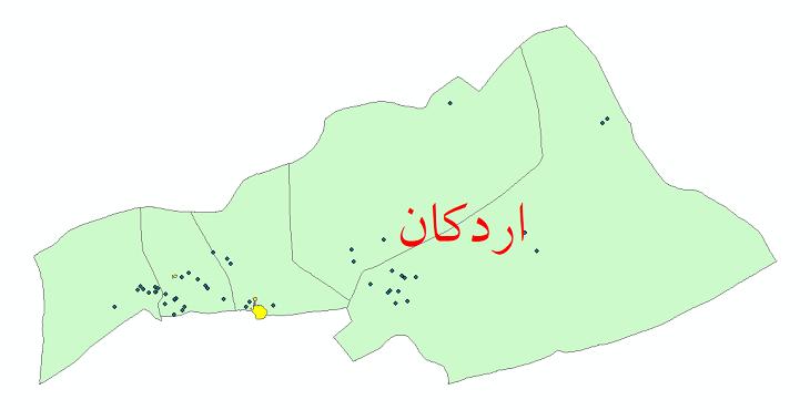 دانلود نقشه جی ای اس تقسیمات سیاسی شهرستان اردکان سال 1398