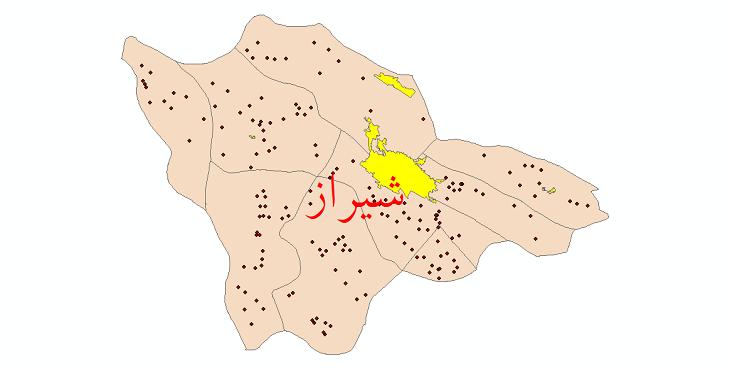دانلود نقشه جی ای اس تقسیمات سیاسی شهرستان شیراز سال 1398