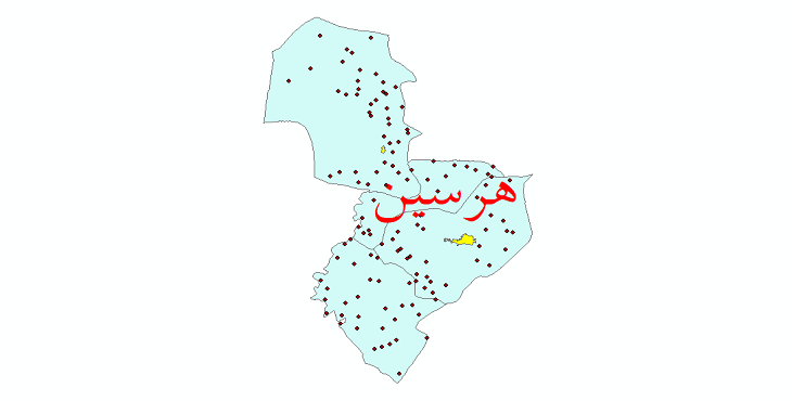 دانلود نقشه جی ای اس تقسیمات سیاسی شهرستان هرسین سال 1398