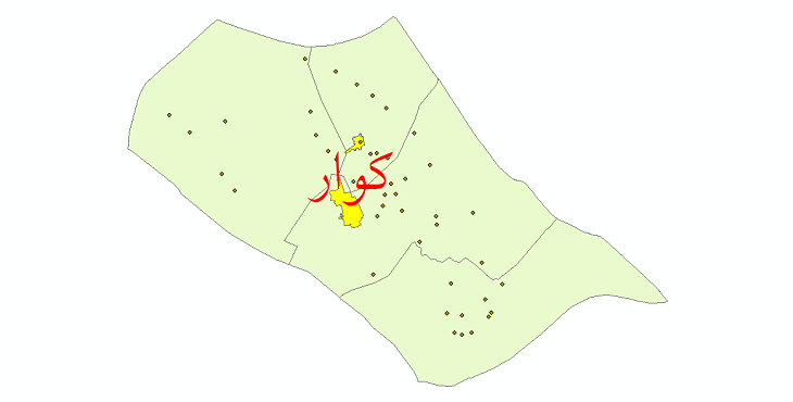دانلود نقشه جی ای اس تقسیمات سیاسی شهرستان کوار سال 1398