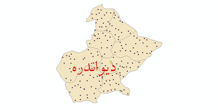 دانلود نقشه جی ای اس تقسیمات سیاسی شهرستان دیواندره سال 1398