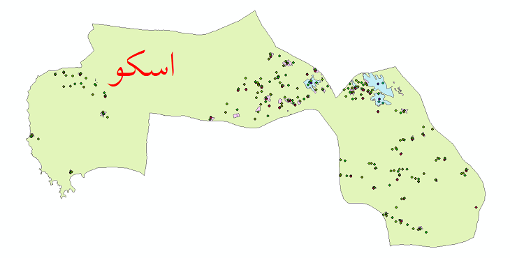 دانلود نقشه شیپ فایل جمعیت نقاط شهری و نقاط روستایی شهرستان اسکو از سال 1335 الی 1395